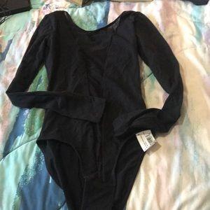 NWT Black American apparel bodysuit with mesh